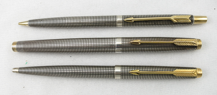 Parker 75 Silver Cisele Set: FP, BP, Pencil (Pen 2068)