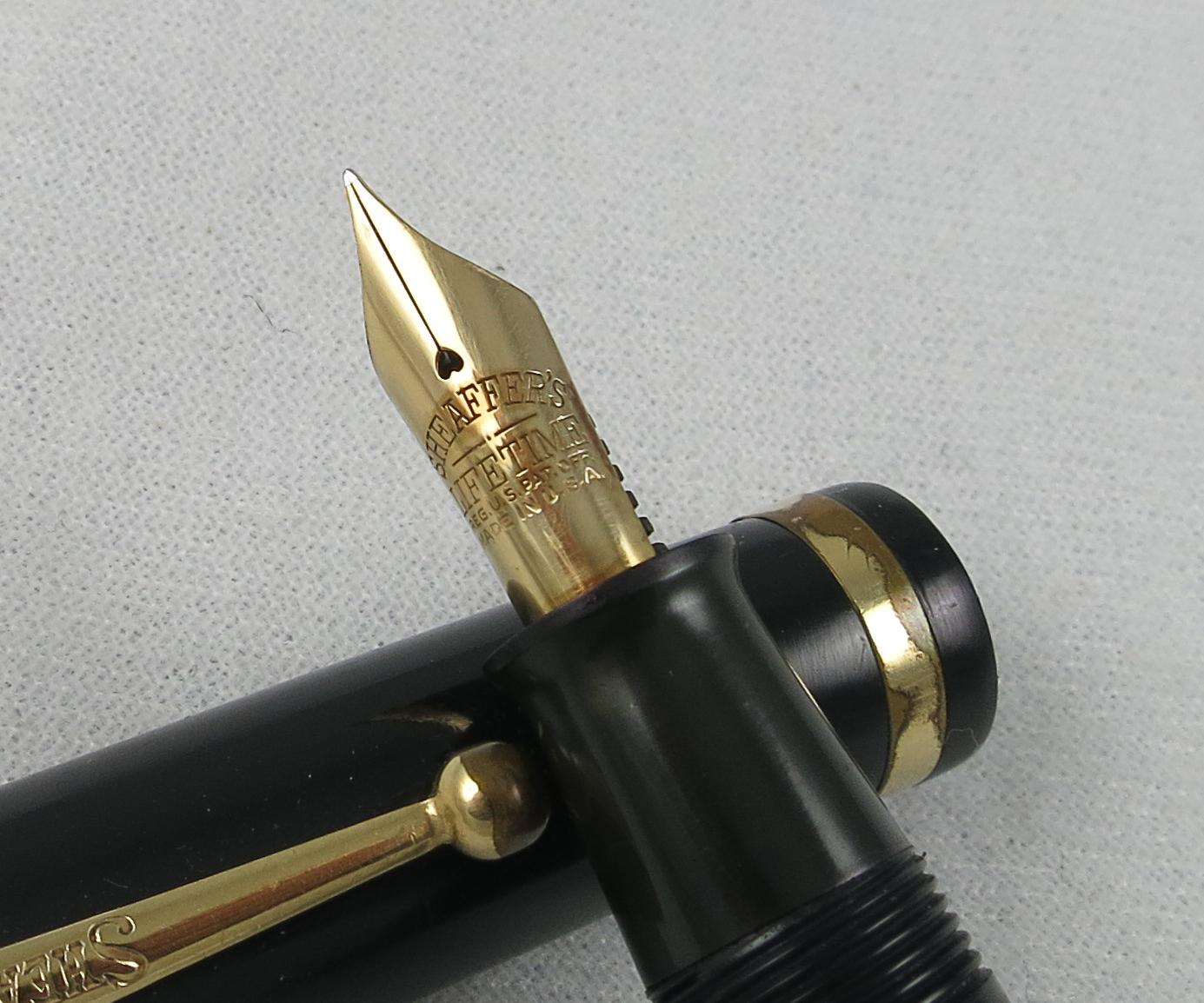 Large Sheaffer White Dot Flattop - Black (Pen 2233)